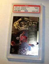 1995 Michael Jordan HOF Upper Deck #JC20 NBA MVP Graded PSA 9 Mint. Nice Golden Foil Sports Card!