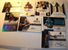 ASSORTED LOT OF NFL AND NBA AUTOGRAPHED SPORTS CARDS. LOT OF 8.