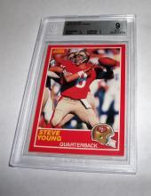 1989 Score Steve Young HOF #212 NFL Trading Card GRADED BECKETT MINT 9