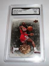 2009 Upper Deck Michael Jordan HOF #18 Legacy Gold NBA Trading Card GRADED GMA GEM MINT 10.