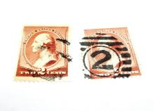 US Stamps Scott# 210 Washington 2 Cents (Lot of 2) Both Used, Date 1883
