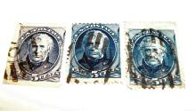 US Stamp Scott#s 179 & 185 Taylor 5 Cents (Lot of 3) All Used, Cat. Value $50-60 Date 1875, 1879