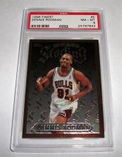 1996 Topps Finest Dennis Rodman #5 NBA Trading Card GRADED PSA 8 NM-MT.  RARE Sterling.