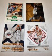 Bargain Lot of 4 NBA Trading Cards Derrick Rose, Karl Malone, Adrian Dantley, Anthony Davis UNGRADED APPEAR MINT/NEAR-MINT.