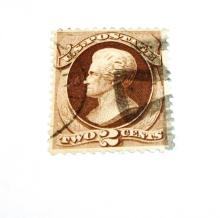 US Stamp Scott# 157 Jackson 2 Cents USED Cat. Value $20-25. Date: 1873