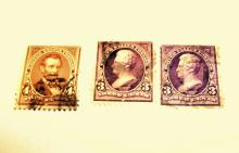 US Stamps Scott#s 253 (2) & 254 (1) Jackson 3 Cents, Lincoln 4 Cents Cat. Value: $30-37.50 ALL USED, DATE 1894.