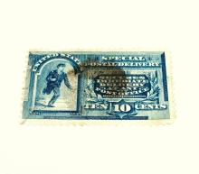 US Stamp Scott# E2 Messenger Running 10 Cents (Blue) USED Cat. Value: $40-45 Date: 1885-93.