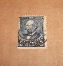US Stamp Scott# 216 Garfield 5 Cents (Indigo) USED Cat. Value $10-17.50 Date: 1888