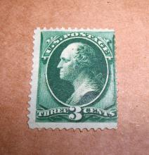 US Stamp Washington 3 Cents Appears Slightly Used/Near Mint. GREEN Date: 1873
