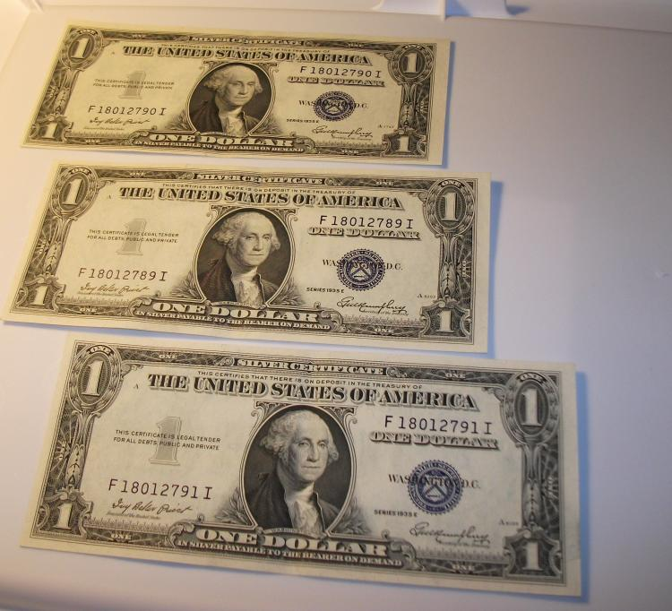 1935 E Silver Silver Certificate One Dollar 1 Set Of 3