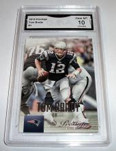 2015 Panini Prestige Tom Brady #1 NFL Trading Card GRADED GMA GEM MINT 10.