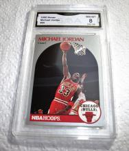 1990 Hoops Michael Jordan HOF #65 NBA Trading Card GRADED GMA 8 NM-MT.