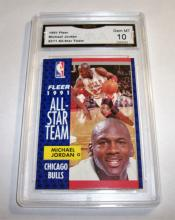 1991 Fleer Michael Jordan HOF #211 All-Star Team NBA Trading Card GRADED GMA 10 GEM MINT.