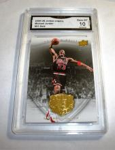 2009 Upper Deck Michael Jordan HOF #91 Gold Legacy NBA Trading Card GRADED GMA 10 GEM MINT.