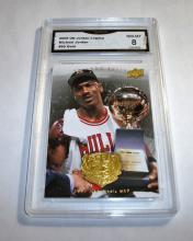 2009 Upper Deck Michael Jordan HOF #89 Gold Legacy NBA Trading Card GRADED GMA 8 MN-MT.