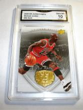 2009 Upper Deck Michael Jordan HOF #82 Gold Legacy NBA Trading Card GRADED GMA GEM MINT 10.