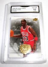 2009 Upper Deck Michael Jordan HOF #9 Gold Legacy NBA Trading Card GRADED GMA 10 GEM MINT.