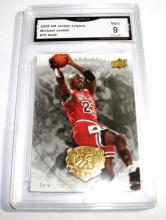 2009 Upper Deck Michael Jordan HOF #70 Gold Legacy NBA Trading Card GRADED GMA 9 MINT.
