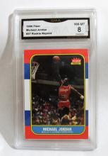 1996 (Reprint of 1986) Fleer Michael Jordan HOF #57 Rookie NBA Trading Card GRADED GMA 8 NM-MT.