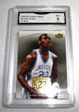 2009 Upper Deck Michael Jordan HOF #3 Gold Legacy NBA Trading Card GRADED GMA 9 MINT.