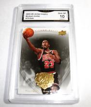 2009 Upper Deck Michael Jordan HOF #79 Gold Legacy NBA Trading Card GRADED GMA 10 GEM MINT.