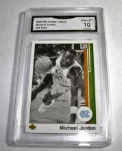 2009 Upper Deck Michael Jordan HOF #98 Gold Legacy NBA Trading Card GRADED GMA 10 GEM MINT.