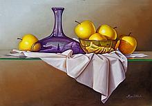 Bottle and Apples by Hugo Zavaleta
