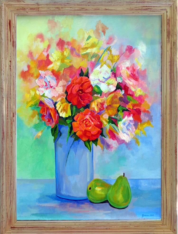 Pears and Flowers by Eduardo Zuniga
