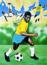 Pele (Signing by him) by Hector Monroy