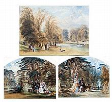 17th century lovers in a garden watercolour and its companion together with another similar watercolour all signed J E Buckley lower left and right 27.5cm x 22cm (arched tops) and 38cm x 27cm (3)
