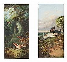 Hunt Dogs in Woodlands barking at a Pheasant oil on canvas together with its companion of Terriers at a Rabbit hole - a pair