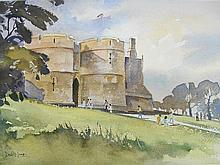 The Gatehouse Rockingham Castle signed watercolour 33.5cm x 23.5cm