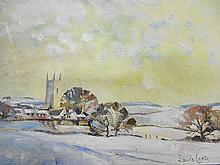 Church in Winter Chulmleigh Devon signed oil on board 25.5cm x 20.5cm
