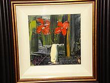 Still life red flowers in white vase, oil on board