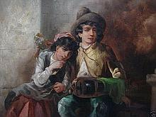 A very fine oil painting depicting two peasant figures seated in embrace by John Joseph Barker of Bath