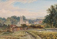 Longton Near Castle Donnington oil on board signed and dated 1865 inscribed verso