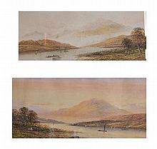 A pair of Continental Lake Scene watercolours