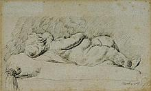 A study of a recumbent child, pen and black ink, pink wash, signed and dated March 1768, 10.5cm x 17.3cm