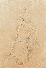 BERTHE MORISOT (1841-1895). «Paysanne à la pomme», dessin à mine de plomb