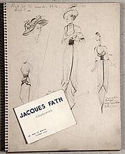 Jacques FATH (1912-1954). Carnet de croquis de dessins et notes, reprenant