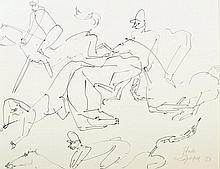 Charles Lapicque (1898-1988). «Etude pour le Steeple-chase». Plume et enc