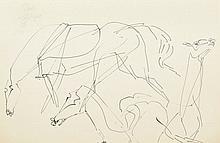 Charles Lapicque (1898-1988). «Etude de chevaux» Plume et encre de chine