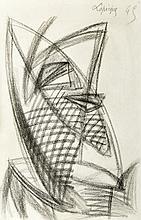 Charles Lapicque (1898-1988). «Les deux masques». Mine de plomb et crayon