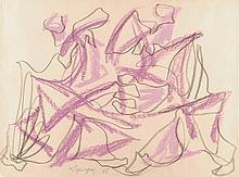 Charles Lapicque (1898-1988). «La rencontre». Crayons gras sur papier sig