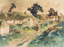 Louis Adolphe Hervier (1818-1879). Paysage rural. Aquarelle sur papier signée et datée 68. Dim: 11,3x16,3 cm.
