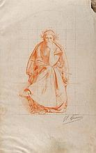Léon Gérôme (1824-1904) «Allégorie de la Justice», dessin à la sanguine a