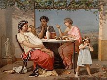 """Auguste TOULMOUCHE (1829-1890) """"L'amour maternel"""", huile sur toile signée e"""