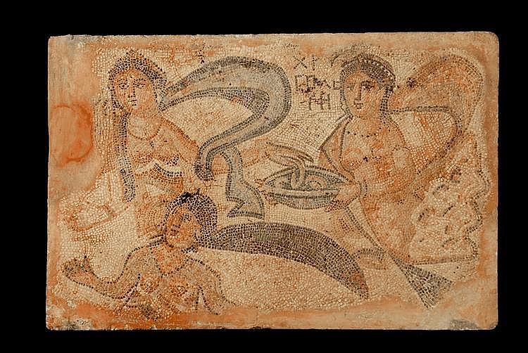 Mosaïque à décor polychrome provenant d'une salle