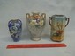 3 Hand Painted Nippon Vase Lot Nice Old Ones