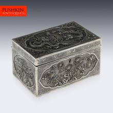 ANTIQUE 20thC CHINESE EXPORT SOLID SILVER LARGE DRAGON BOX c.1900